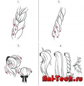 Рисунок заплетенных волос – для
